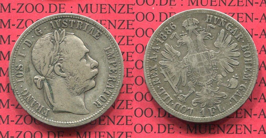1 Florin Gulden 1886 österreich österreich Ungarn 1 Florin 1886