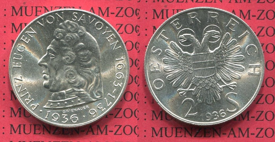 2 Schilling Gedenkmünze Silber 1936 österreich Austria österreich 2 Schilling 1936 Prinz Eugen Von Savoyen Stgl Usa Ms