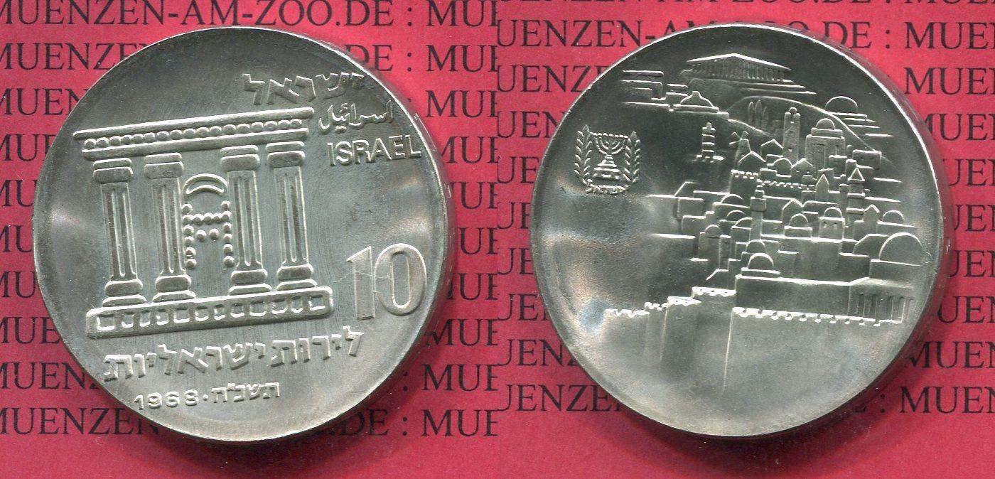 10 Pfund Silbermünze 1968 Israel Israel 10 Lirot 1968 20 Jahre Unabhängigkeit unc. US MS 63 matte*