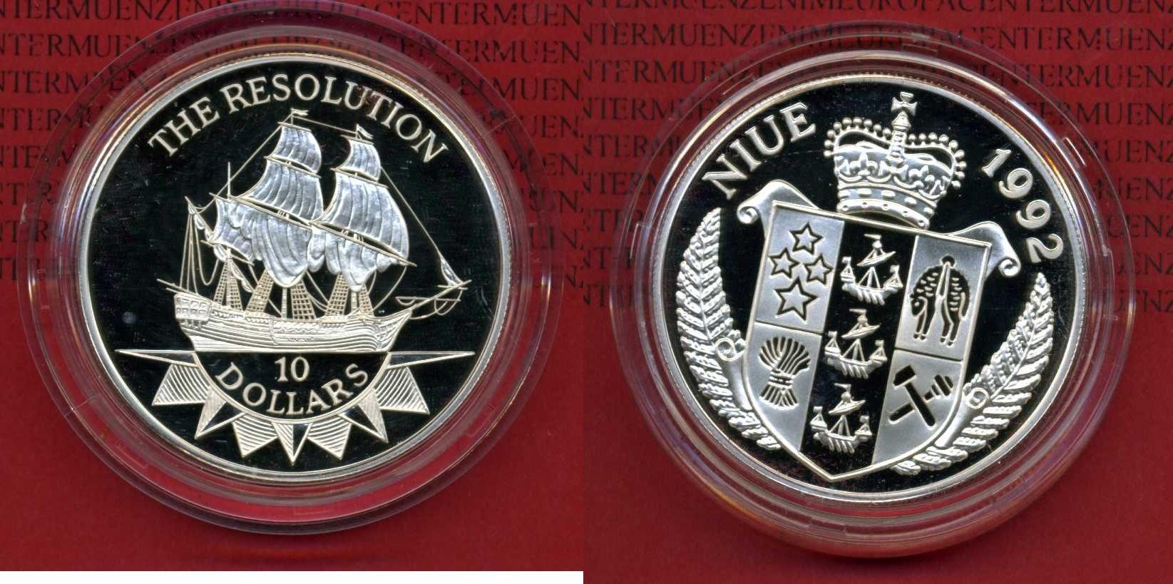 10 Dollar Silbermünze Schiffsmotiv 1992 Niue Niue 10 Dollars 1992