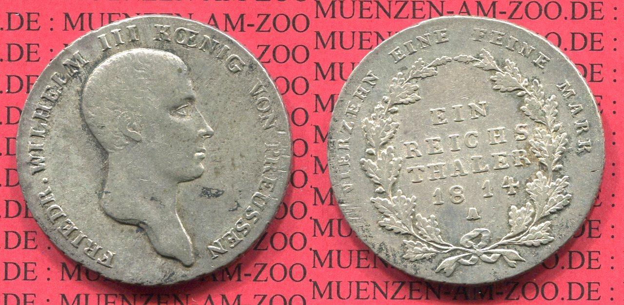 1 Taler Silbermünze 1814 Preußen Königreich Preußen Taler 1814 A