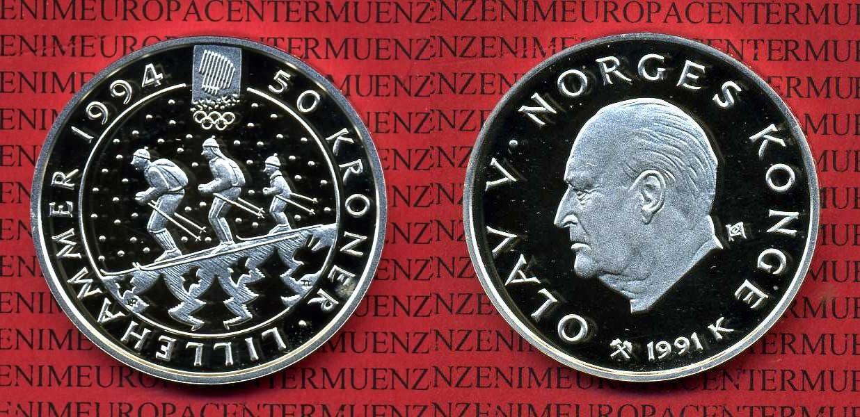 50 Kronen Oly Lillehammer Silbermünze 1991 Norwegen Norway Norwegen