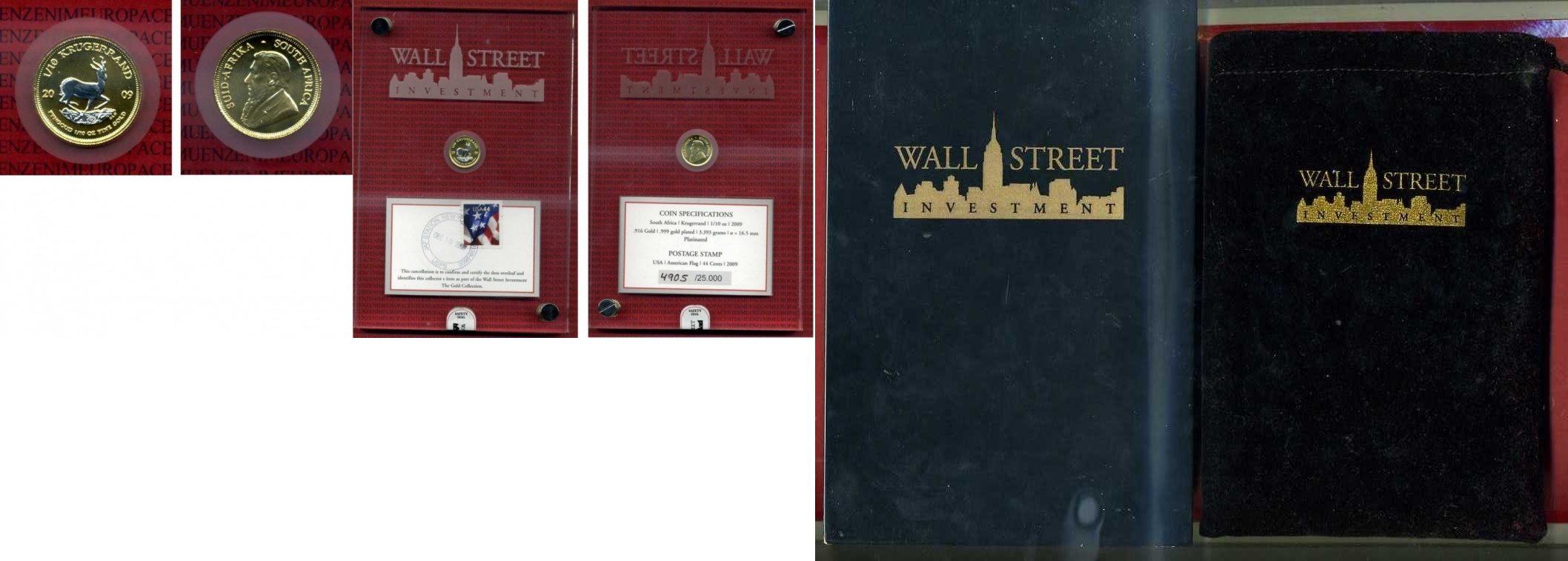 1/10 Unze Krügerrand Gold teilplatiniert Südafrika Süd Afrika 2009 1/10 Unze Gold Krügerrand teilplatiniert Wallstreet Investment
