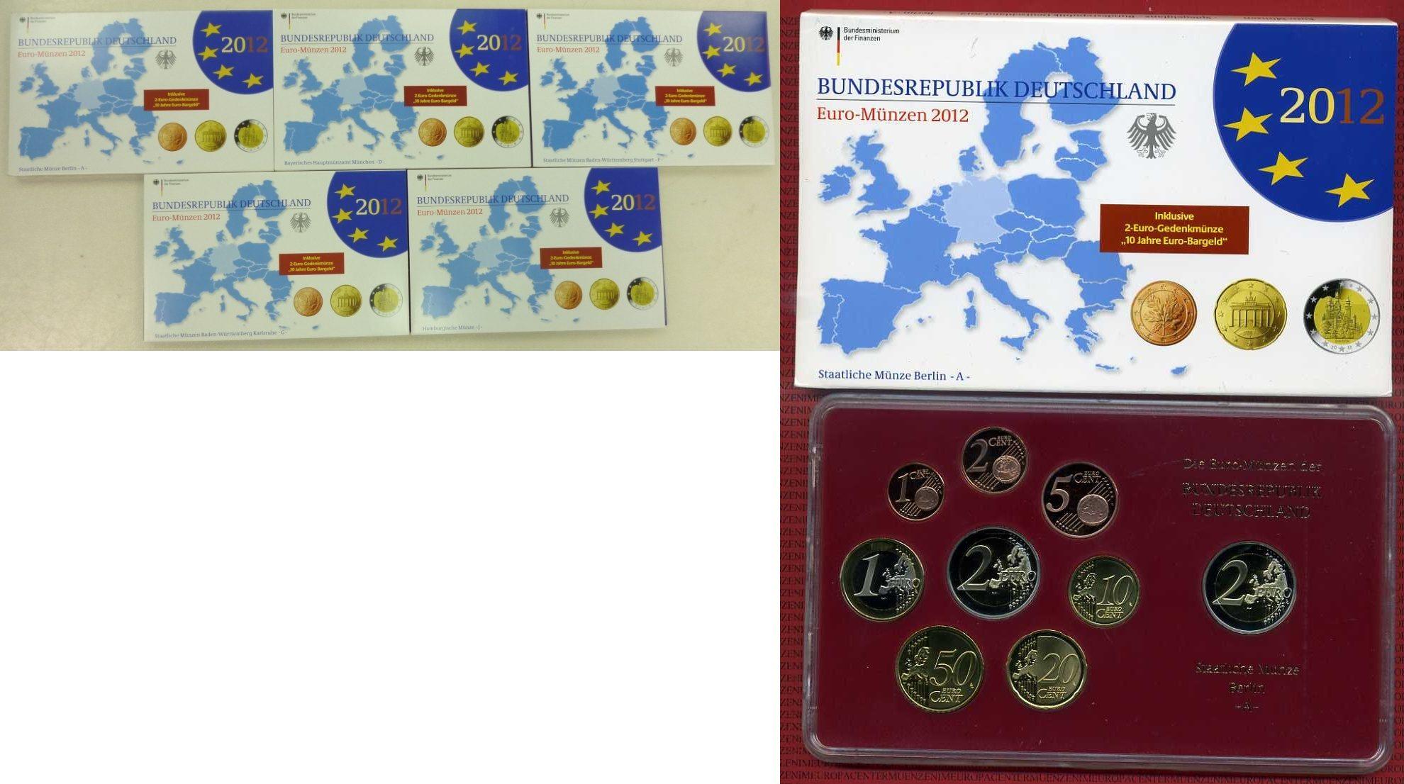 Euro Kursmünzensatz Offiziell 5 X 588 E 2012 Bundesrepublik