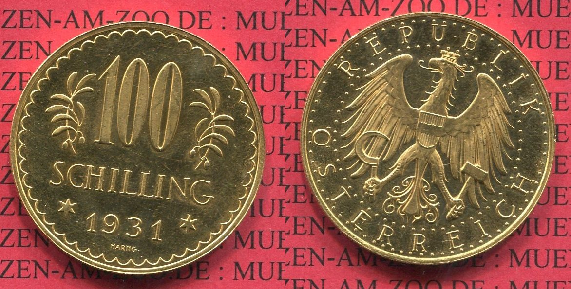 100 Schilling Goldmünze Kursmünze 1931 österreich Austria