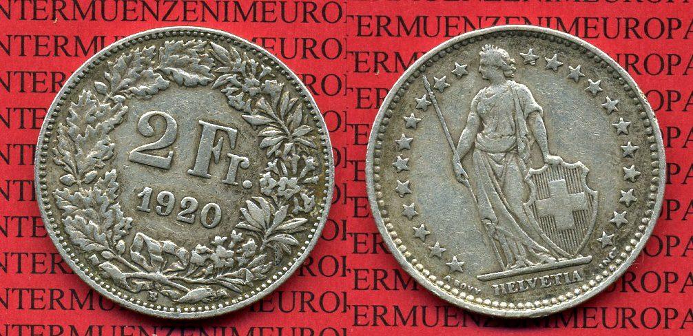 2 Franken 1920 Schweiz Schweiz 2 Franken 1920 Silber Sehr Schön