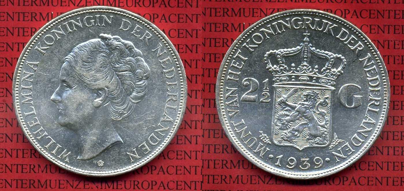 2 12 Gulden Silber 1939 Niederlande Holland Netherlands