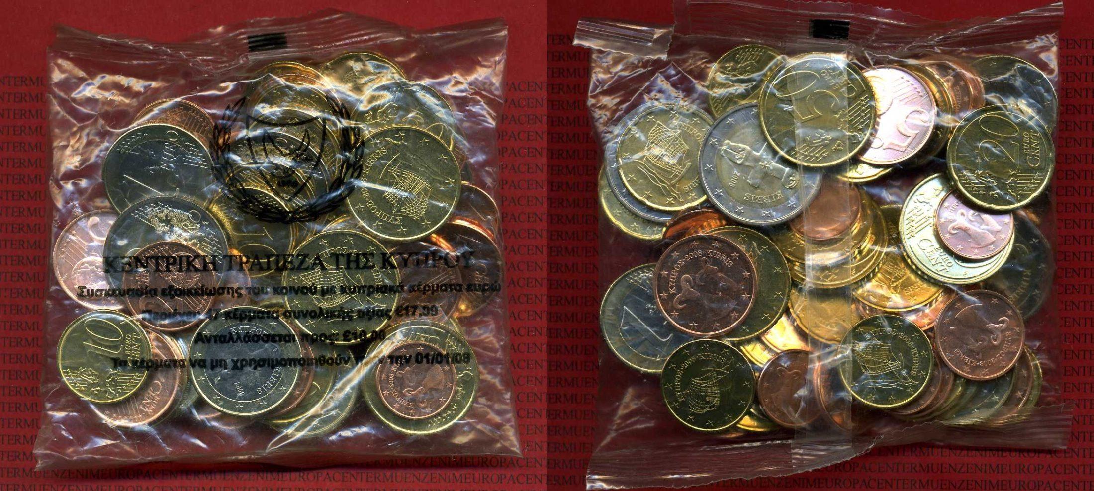 Euro Starter Kit 2008 Zypern Starterkit 47 Münzen Gesamtwert 17,09 Euro Kupfer-nickel