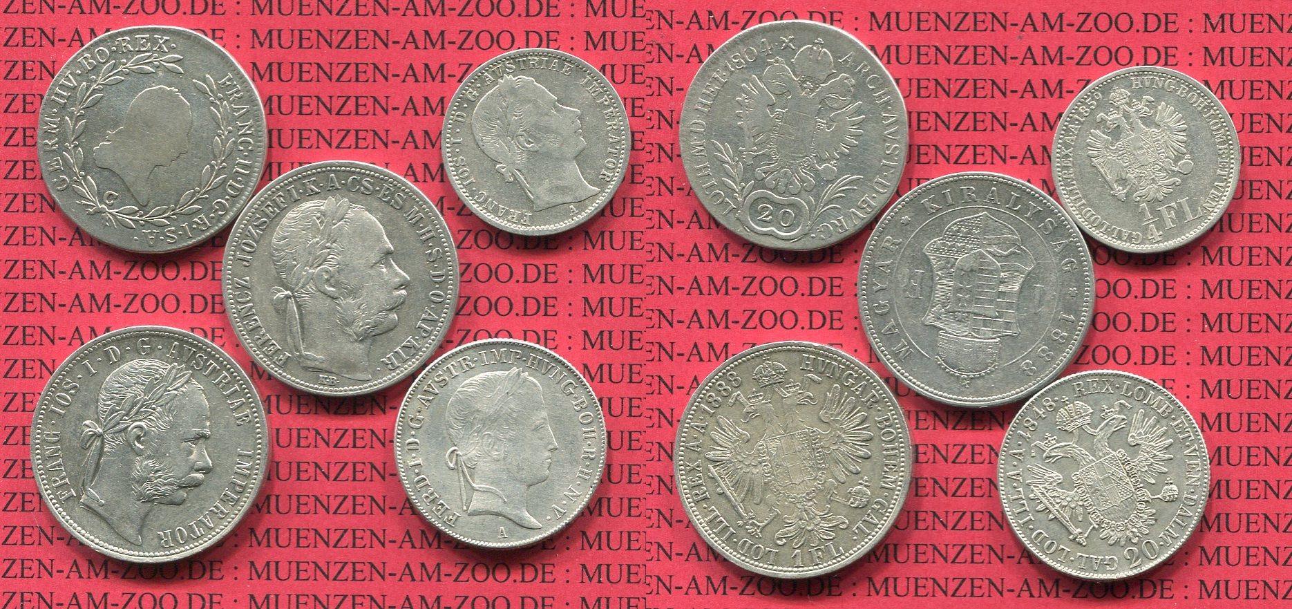 Lot 5 Silbermünzen 1804 Ff Kaiserreich österreich Austria Lot