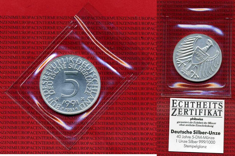 Medaille 1 Unze Feinsilber 1991 Deutschland Deutschland Brd 1991 40