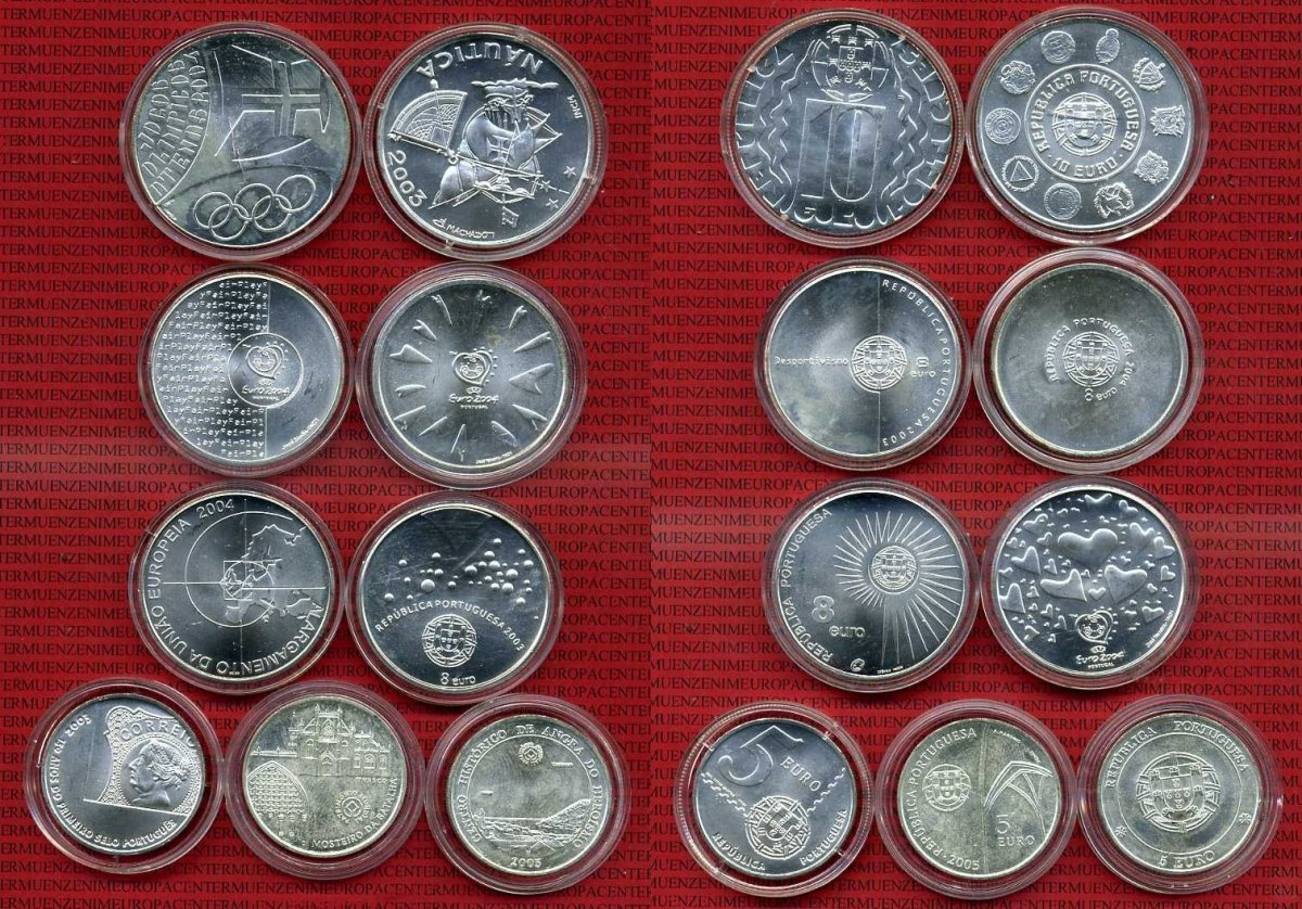 Lot 58 Und 10 Euro Münzen Silber 9 Münzen Verschiedene Portugal