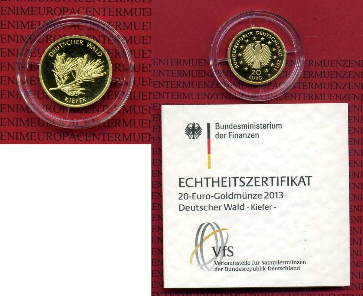 20 Euro Goldmünze 18 Unze 2013 D Deutschland Deutscher Wald Kiefer