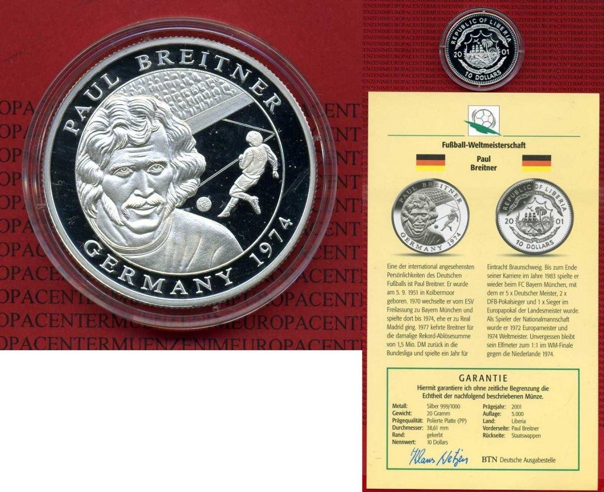 10 Dollar Silbermünze 2001 Liberia Liberia 10 Dollars 2001 Fußball