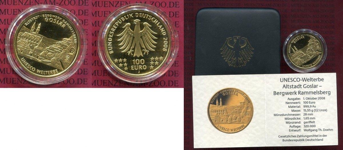 100 euro gold 1 2 unze feingold 2008 j deutschland brd germany frg angebot unesco serie. Black Bedroom Furniture Sets. Home Design Ideas