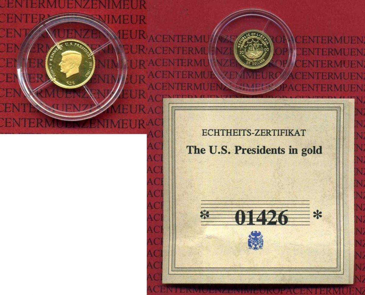 25 Dollars Goldmünze 2000 Liberia Liberia 25 Dollars 2000 John F