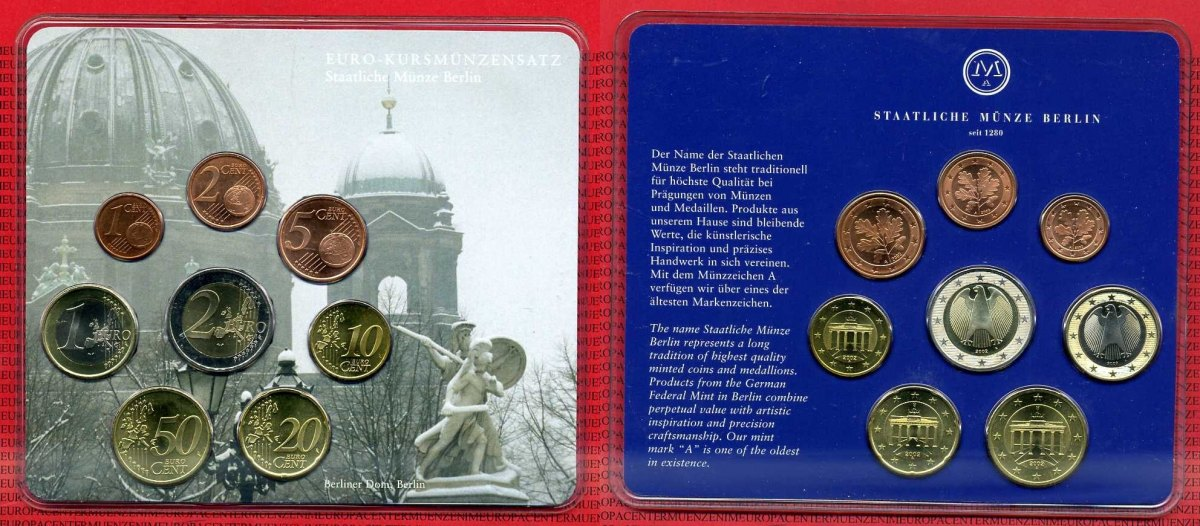 Euro Set Kursmünzensatz 2002 A Bundesrepublik Deutschland Berlin