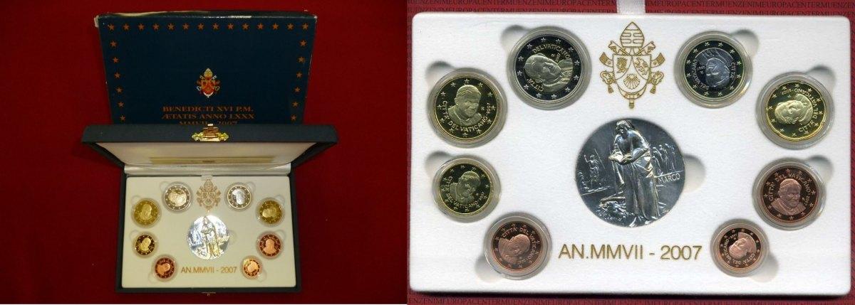 Kursmünzensatz Mit Medaille Ovp 2007 Vatikan Papst Benedikt Xvi Vatikan Kursmünzensatz 2007 1 Cent Bis 2 Euro 8 Münzen Polierte Platte Ovp