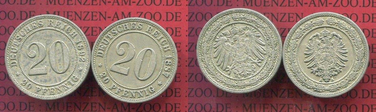 20 Pfennig Nickel 1887 1892 A Kaiserreich Kleinmünze Nach Jäger