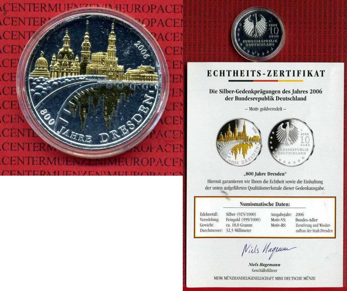 10 Euro Silbermünze Teilvergoldet 2006 Bundesrepublik Deutschland 10