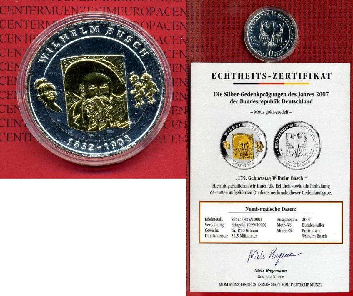 10 Euro Silbermünze Teilvergoldet 2007 Bundesrepublik Deutschland