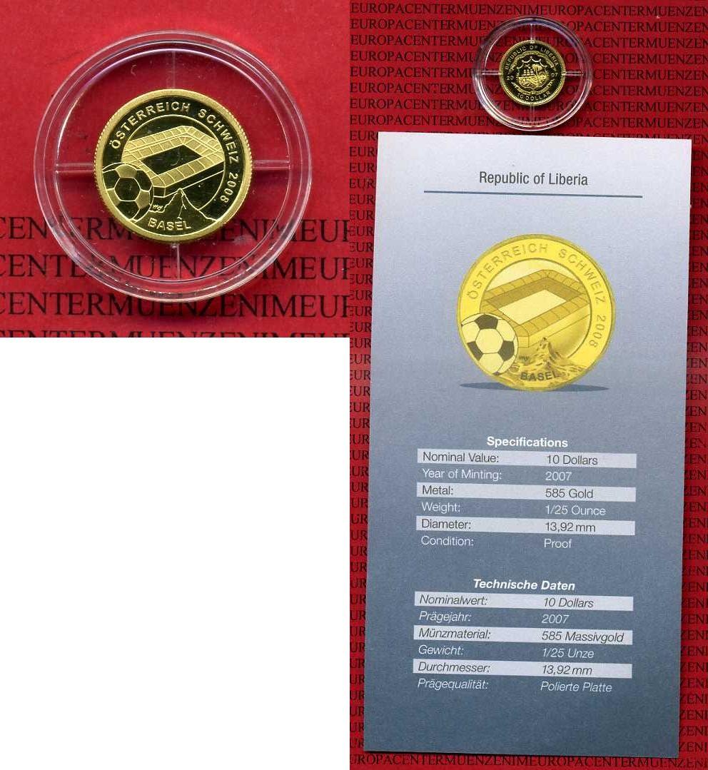 10 Dollar Minigold Münze 2007 Liberia Liberia 2007 10 Dollars Fußball Em österreich Schweiz 2008 Stadion Basel Polierte Platte Mit Zertifikat