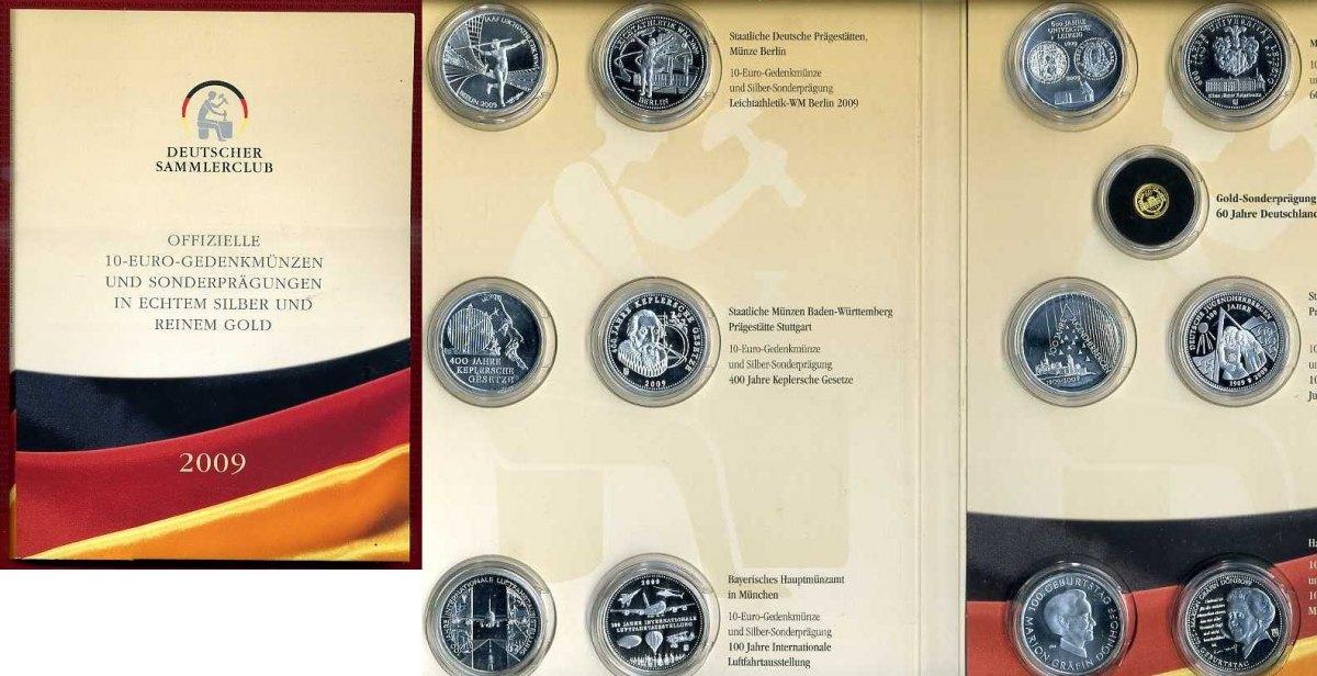 6 X 10 Euro 6 Silbermedaillen 1 Goldmedaille 2009 Bundesrepublik