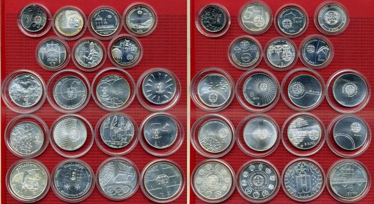 Lot 2 12 5 8 Und 10 Euro Münzen Silber Verschiedene Portugal Lot