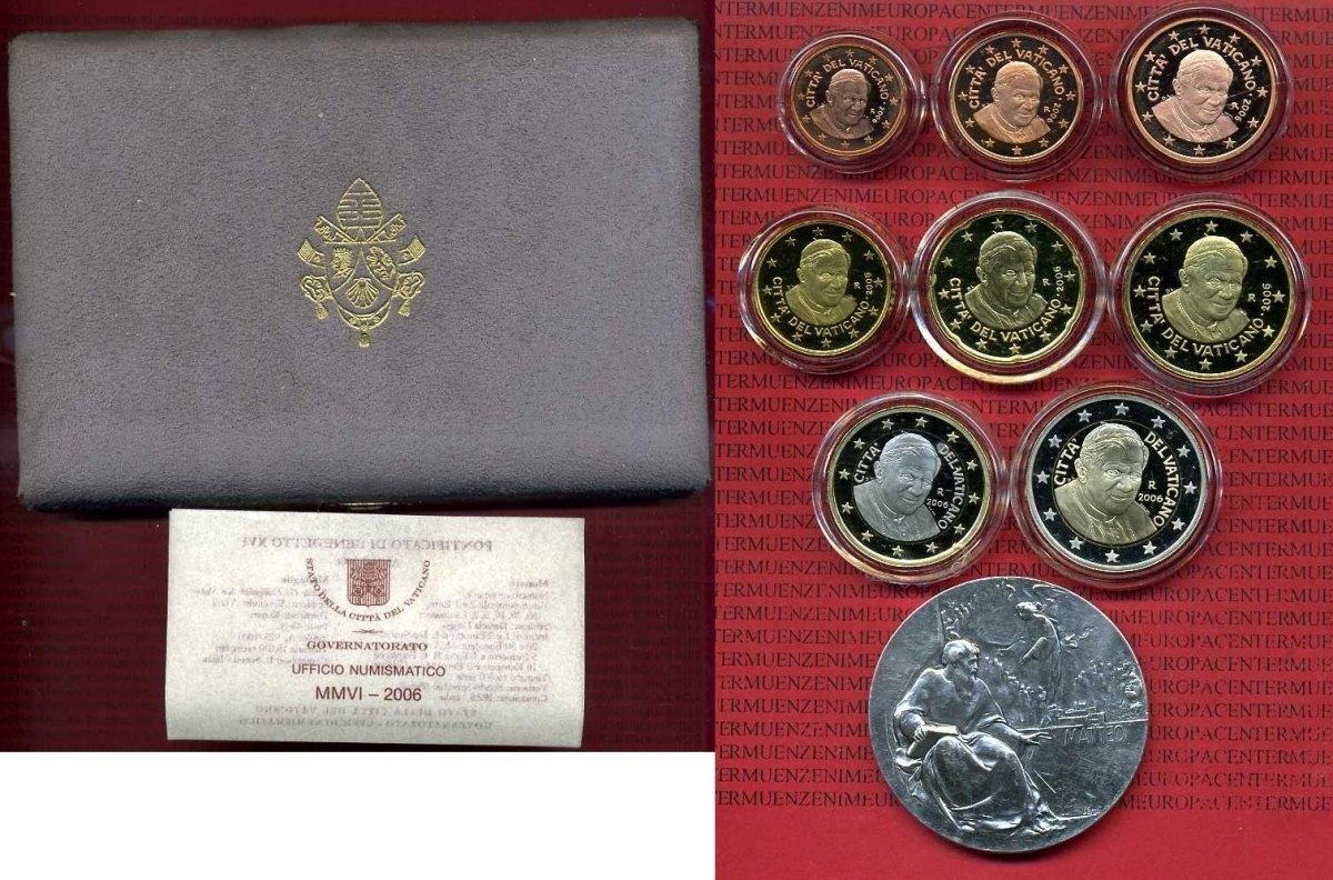 Kursmünzensatz Mit Medaille 2006 Vatikan Papst Benedikt Xvi Vatikan Kursmünzensatz 2006 1 Cent Bis 2 Euro 8 Münzen Und Silbermedaille Polierte