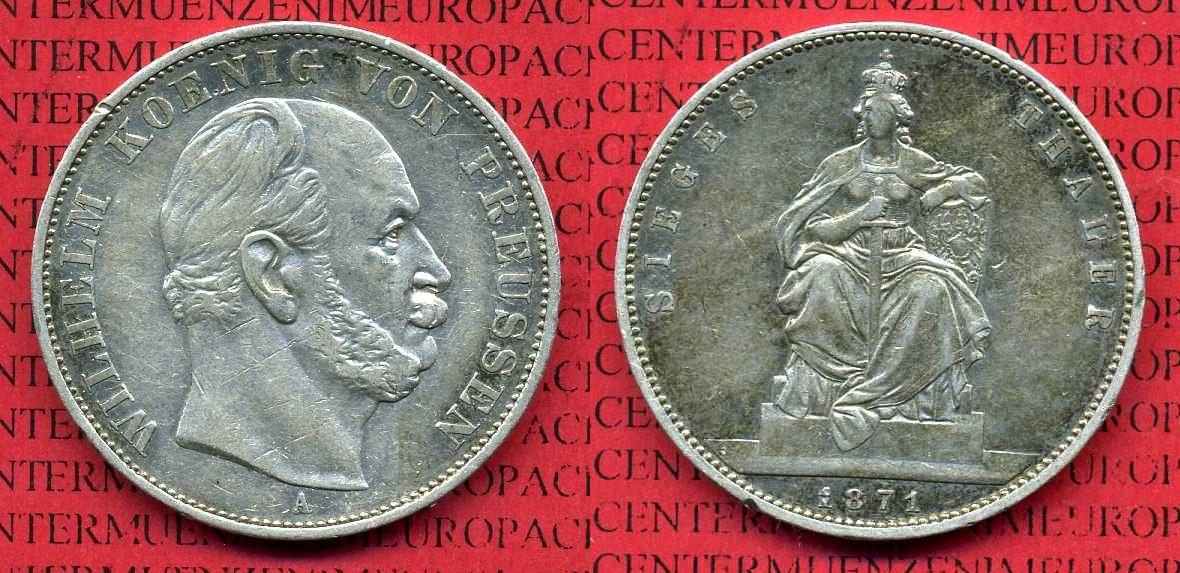 1 Taler Siegestaler 1871 Preußen Prussia Preußen Siegestaler 1871
