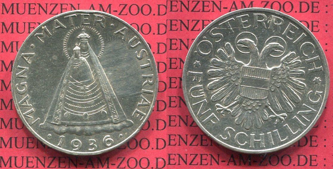 5 Schilling Silbermünze 1936 österreich Austria österreich 5