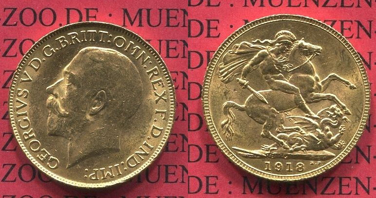 Sovereign Goldmünze Für Kanada 1918 C England Great Britain Uk