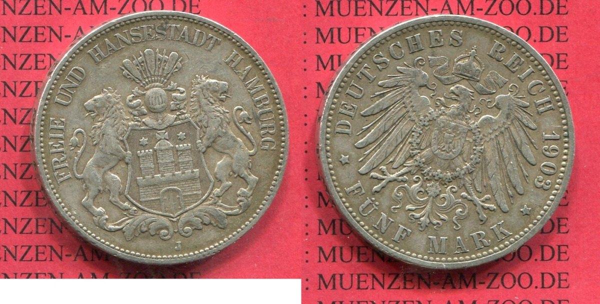 5 Mark Silbermünze 1904 Hamburg Hamburg 5 Mark 1903 J Silber
