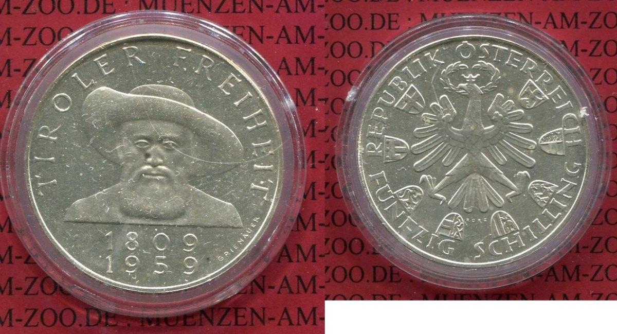 50 Schilling Silbermünze 1959 österreich Austria österreich 50
