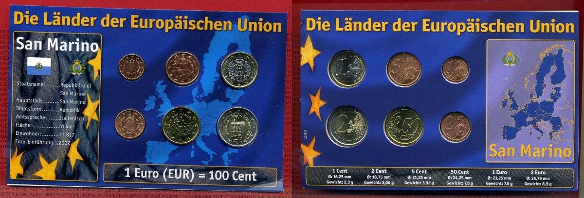 6 Münzen 2006 Ff San Marino Kursmünzensatz Ohne 10 Cent Und 20 Cent