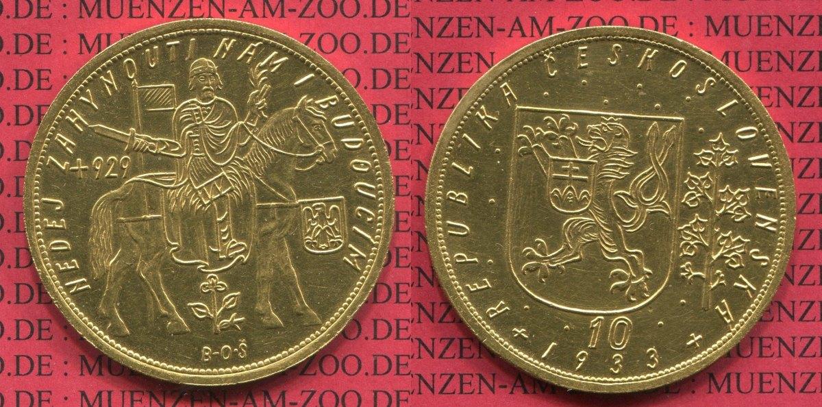 10 Dukaten Goldmünze 1933 Tschechoslowakei Csr Czechoslovakia