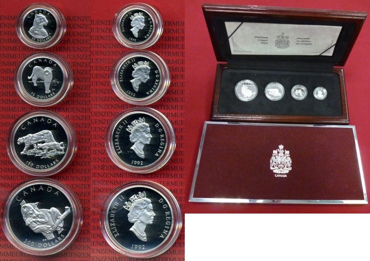 30 75 150 Und 300 Dollars 1992 Kanada Canada Platin Platinum Puma