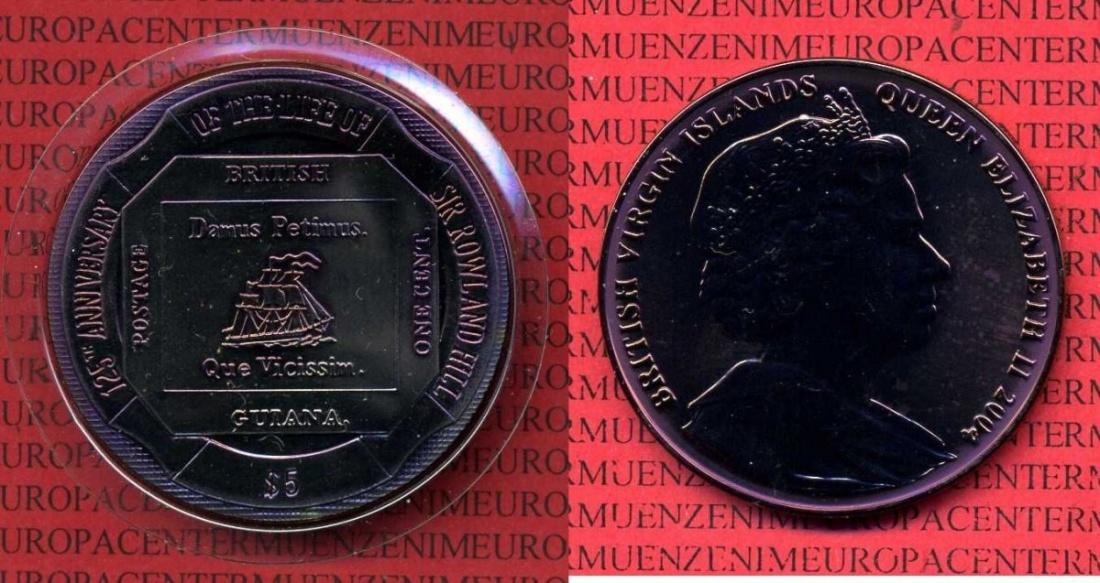 5 Dollar Münze 2004 Britische Jungferninseln Virgin Islands Rötlich