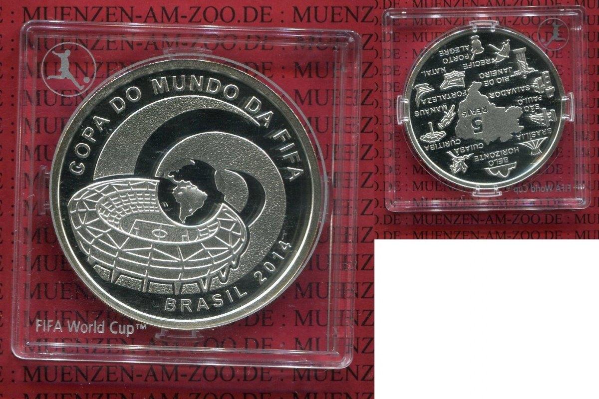 5 Reais Silbermünze 2014 Brasilien Brazil Brasil Brasilien 5 Reais