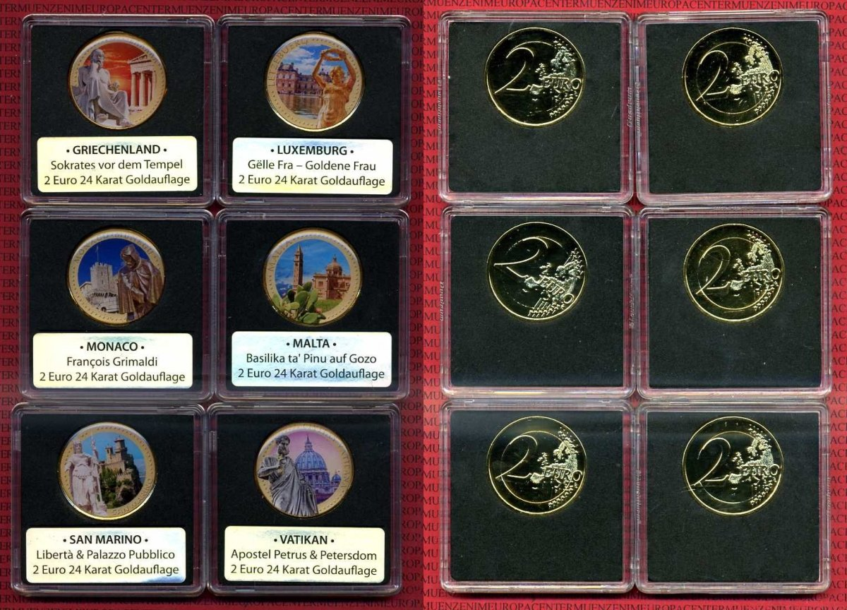 6 X 2 Euro Münzen Jahr Unbekannt Unbekannte Länder 6 X 2 Euro