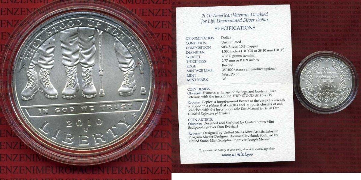 1 Dollar Commorative Silver 1 Dollar Usa 2010 Commemorative Silver Dollar American Veterans Silber