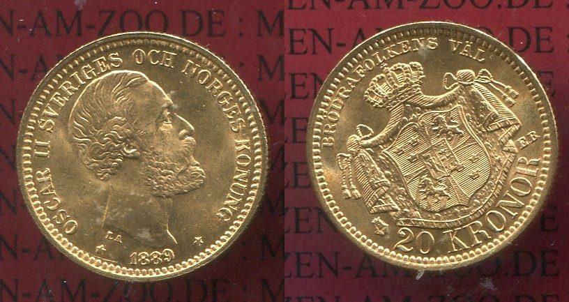20 Kronor Goldmünze 1889 Schweden Sweden Schweden 20 Kronen Gold