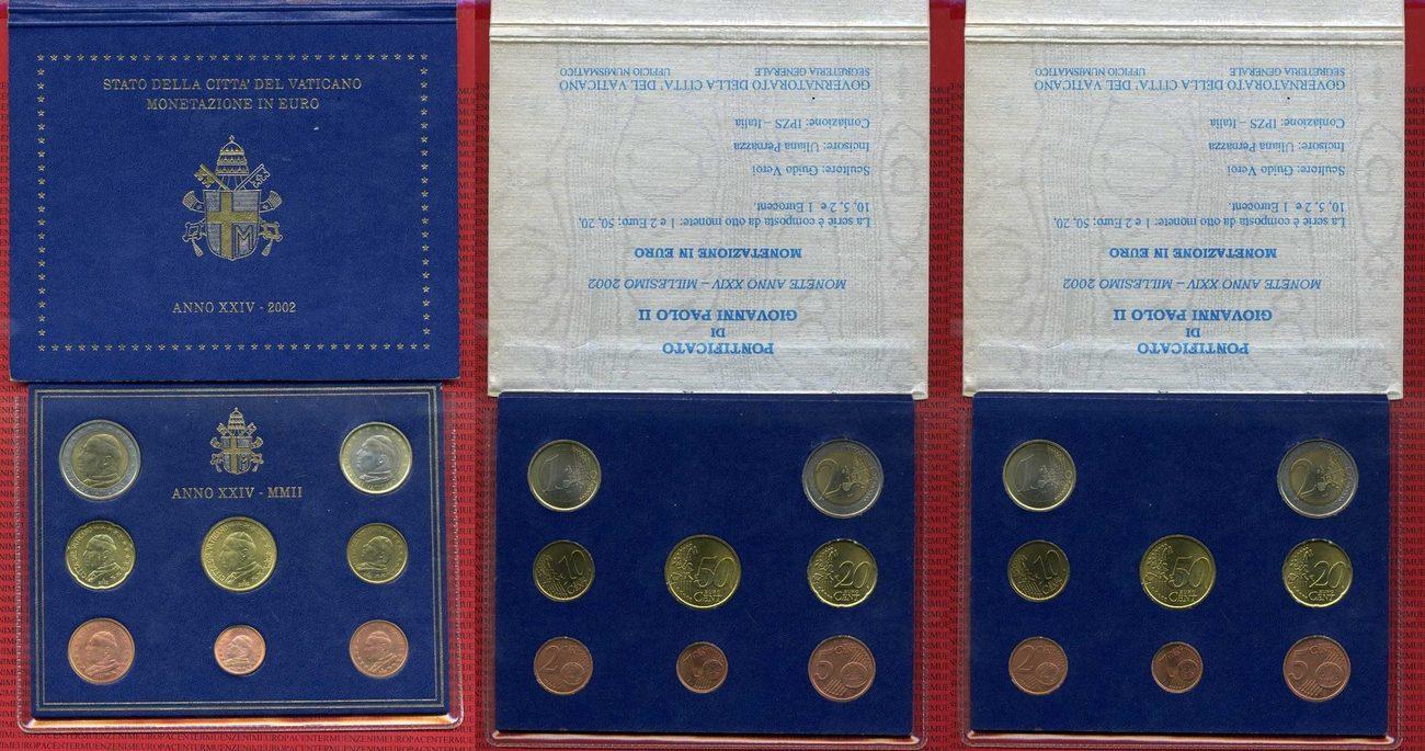 Kursmünzensatz 2002 Vatikan Johannes Paul Ii Kms 1 Cent Bis 2 Euro