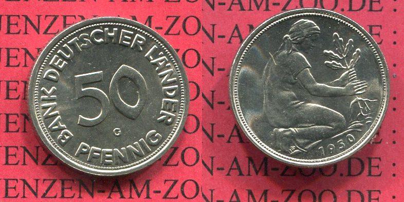 50 Pfennig 1950 G Bundesrepublik Deutschland Frg Germany 50 Pfennig