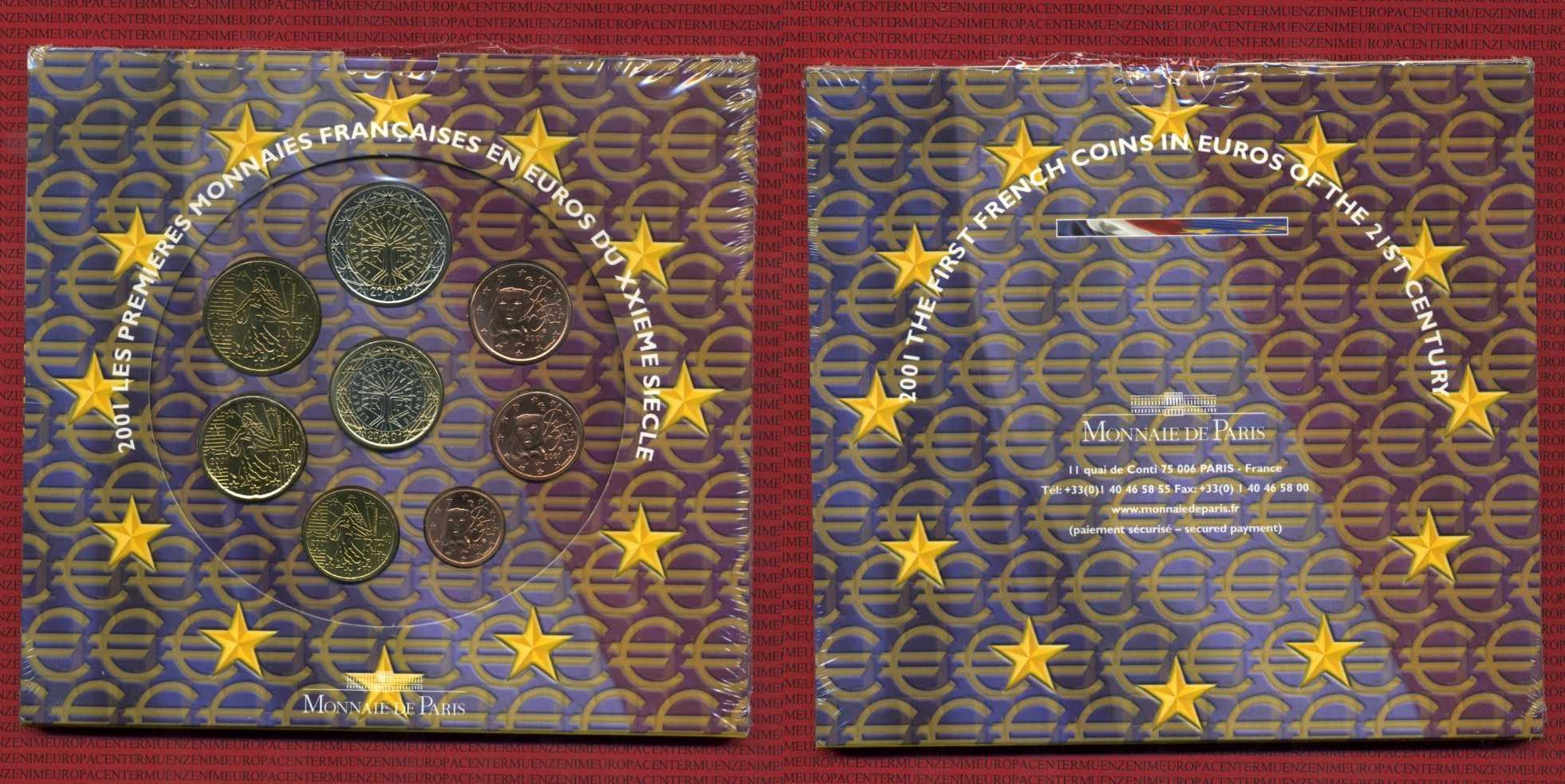 Kursmünzensatz Stgl Kms 2001 Frankreich France Frankreich