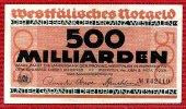 Westfälisches Notgeld Landesbank Münster 500 Milliarden Mark Deutschland 1923 500 Milliarden Mark Landesbank Provinz Westfalen vom Stein