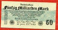 Inflation Dt. Reich 1919 - 1924 50 Milliarden Mark Reichsbanknote Inflation Dt. Reich 50 Milliarden Mark 26.10.1923 Ro 122 c