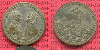 Jeton Medaille Österreich Rußland Versilberter Messing-Jeton Alexander I Rußland, Kaiser Franz I. Österreich Völkerschlacht Leipzig 1813