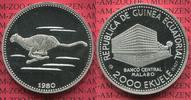 Republica de Guinea Ecuatorial 2000 Ekuele Silbermünze Äquatorial Guinea Cheetah Gepard Sehr Selten !