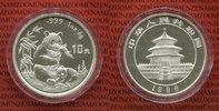 China Volksrepublik, PRC 10 Yuan Silber China Panda 10 Yuan 1996 1 Unze Silber Stempelglanz large date