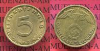III. Reich, Weimarer Republik 5 Pfennig Kursmünze mit Hoheitszeichen mit Reichsadler w Swastika Key date Jahrgang